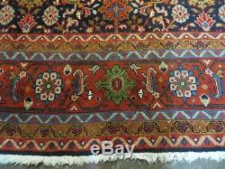 10' X 13' Vintage Hand Made Fine Persian Mahal Wool Rug Blue Room Size Colorful