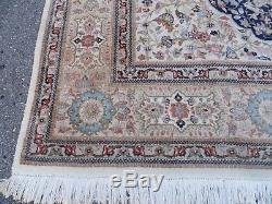 10' X 14' Vintage Hand Made PERSIAN Tabriz Tabataba Wool Rug Hunting Blue Nice