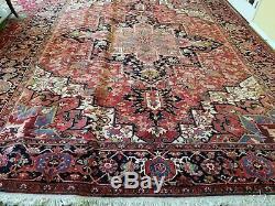 10 x 13 or 10.0 x 12.9 Vintage Finest Persian Heriz Rug Serapi Antique