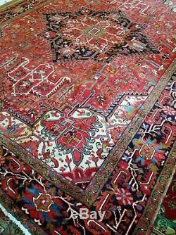 10 x 13 or 9.5 x 12.9 Vintage Finest Veg Dye Persian Heriz Rug Serapi Antique