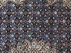 10x13 ANTIQUE BLUE RUG HAND-KNOTTED WOOL vintage geometric handmade 10x14 11x13
