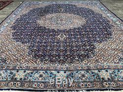 10x13 ANTIQUE BLUE RUG HAND KNOTTED WOOL vintage geometric handmade 10x14 11x13