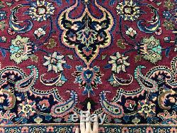 10x13 ANTIQUE WOOL RUG HAND KNOTTED VINTAGE oriental handmade red carpet 10x12