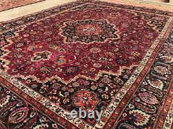 10x13 ANTIQUE WOOL RUG HAND-KNOTTED red purpe blue vintage oriental carpet 9x12