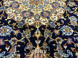 10x13 BLUE VINTAGE PERSIAN RUG HAND KNOTTED WOOL ANTIQUE oriental gold 10x14 ft