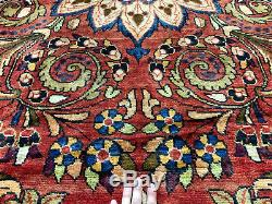 10x13 RED ANTIQUE RUG HAND KNOTTED WOOL sarouk oriental vintage handmade 10x14