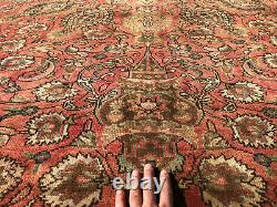10x13 RED ANTIQUE RUG HAND-KNOTTED muted vintage oriental handmade carpet 9x12
