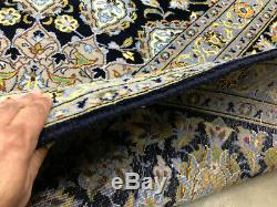 10x13 VINTAGE BLUE WOOL RUG HAND-KNOTTED antique oriental carpet handmade 10x14
