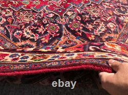 10x14 ANTIQUE RUG HAND-KNOTTED wool red vintage oriental handmade carpet 10x13