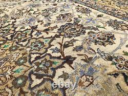 10x14 MUTED VINTAGE WOOL RUG HAND-KNOTTED ANTIQUE handmade oriental beige 9x14