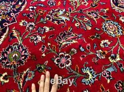 10x14 RED ANTIQUE ORIENTAL RUG HAND-KNOTTED WOOL blue vintage handmade carpet