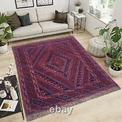 12882 Vintage Afghan Rug, Handmade Bedroom Rug Flatweave Barjasta Wool Kilim 4x3