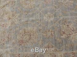 12x15 Peshawar Oriental Area Rug blue beige wool hand-knotted vintage-look