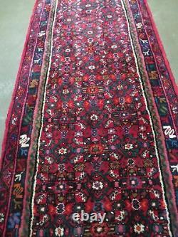 2' 11 X 19'5 Vintage Hand Made Turkish Wool Runner Rug Red Nice