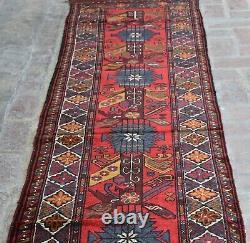 2'6 x 12'1 Handmade vintage afghan tribal berjesta wool persian long runner rug