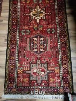 2.6 x 9.5 Vintage Gharajeh Persian Heriz Rug Serapi Runner