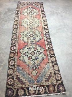 2'6x8'8 Vintage Antique Persian Turkish Oriental Oushak Runner Rug