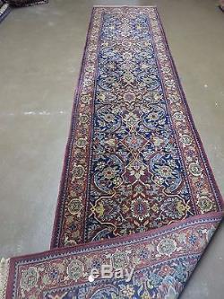 2'7 X 12'3 Vintage Hand Made Persian Mahal Sarouk Wool Runner Rug Nice