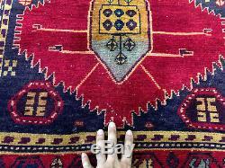 2x10 ANTIQUE HERIZ RUNNER RUG WOOL HAND KNOTTED vintage handmade geometric 3x10