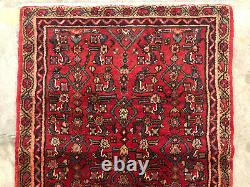2x10 RED VINTAGE RUNNER RUG ANTIQUE WOOL HAND-KNOTTED geometric handmade 3x10 ft