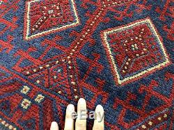 2x12 WOOL RUNNER RUG HAND KNOTTED handmade bold oriental vintage blue red 3x12