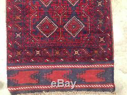 2x12 WOOL RUNNER RUG HAND KNOTTED handmade oriental red vintage heriz kilim 2x13