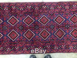 2x12 WOOL RUNNER RUG HAND KNOTTED handmade oriental red vintage heriz kliim 2x11