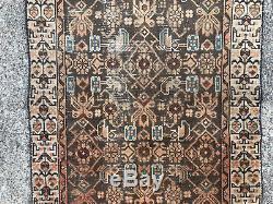 2x13 PERSIAN RUNNER RUG WOOL HAND KNOTTED IRAN ANTIQUE HERIZ brown vintage 2x14