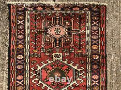2x13 VINTAGE RUNNER RUG WOOL HAND-KNOTTED antique handmade tribal handwoven 3x13