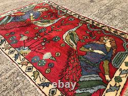 2x3 VINTAGE WOOL RUG HAND-KNOTTED oriental HANDMADE antique caucasian hand-woven