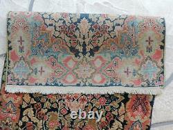 2x4ft. Antique Handmade Kirman Wool Rug