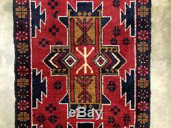 2x8 RED WOOL RUNNER RUG HAND KNOTTED handmade blue oriental vintage heriz 3x8