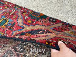 2x9 ANTIQUE RUNNER RUG WOOL HAND-KNOTTED vintage handmade red geometric 2x10 3x9