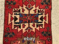 2x9 RED ANTIQUE RUNNER RUG HAND-KNOTTED VINTAGE caucasian oriental handmade 2x10
