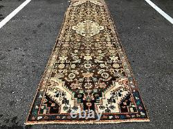 2x9 VINTAGE WOOL RUNNER RUG HAND KNOTTED ANTIQUE worn oriental brown 2x10 3x9 ft