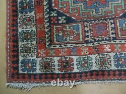 3'4 X 10' Vintage Hand Made Turkish Kazak Caucasian Wool Runner Rug Red Nice