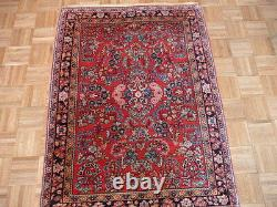 3'5 X 4'9 Hand Knotted Red Antique Persian Sarouk Oriental Rug G1550