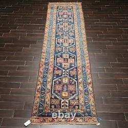 3'6 x 13'7 Antique Runner Hand Knotted Wool Malayar Oriental Area Rug Blue