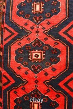 3'6x9 Vintage Tribal Kurdish Mehriban Geometric Handmade Wool Runner Animal Rug