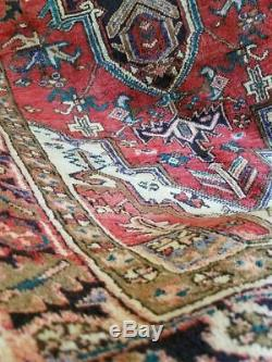 3.8 x 7.7 Vintage Persian Heriz Rug Turkish Serapi Antique