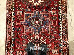 3x10 ANTIQUE HERIZ RUNNER RUG WOOL HAND KNOTTED vintage worn handmade geometric