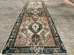 3x10 ANTIQUE RUNNER RUG VINTAGE WORN WOOL HAND-KNOTTED oriental tribal old 4x10