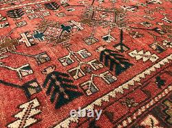 3x10 ANTIQUE RUNNER RUG WOOL HAND-KNOTTED vintage handmade geometric red tribal