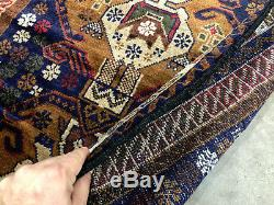 3x10 BLUE PERSIAN RUNNER RUG CAUCASIAN ANTIQUE HAND KNOTTED heriz serapi vintage