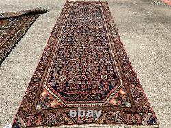 3x10 VINTAGE BLUE RUNNER RUG WOOL HAND-KNOTTED antique handmade 4x10 3x9 4x9 ft