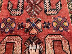 3x10 VINTAGE RUNNER RUG WOOL HAND KNOTTED antique handmade coral red blue 3x11