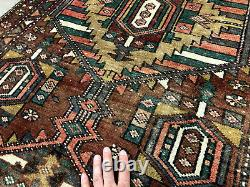 3x11 ANTIQUE RUNNER RUG WOOL HAND KNOTTED geometric vintage tribal handmade 3x10