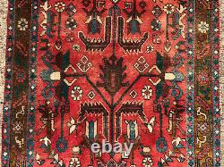 3x11 RED VINTAGE RUNNER RUG WOOL HAND-KNOTTED antique handmade geometric carpet