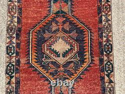 3x12 ANTIQUE RUNNER RUG WOOL HAND-KNOTTED vintage handmade geometric caucasian