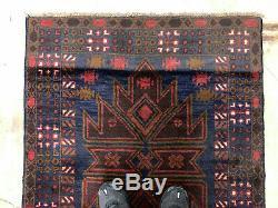 3x6 BLUE VINTAGE RUG HAND KNOTTED WOOL GEOMETRIC oriental handmade runner 3x7